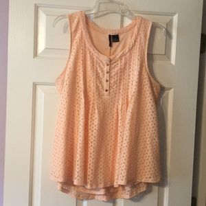 New Directions Peach Lace Overlay swing top